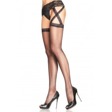 721653 CRISS CROSS SHEER GARTER BELT STOCKING O/S BLK