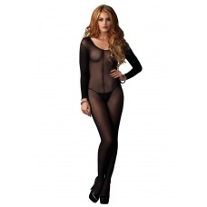 728297 SHEER LONG SLEEVES BODYSTOCKING O/S BLK