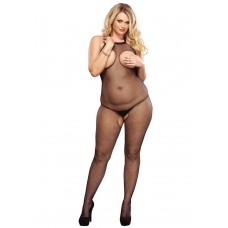 728350Q PLUS SIZE FISHNET HALTER BODYSTOCKING OPEN PLUS SI BLK