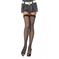 729027SL FISHNET STOCKING W/ LACE TOP O/S BLK