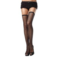 729031 FISHNET THIGH HI W/ELASTIC TOP O/S BLK