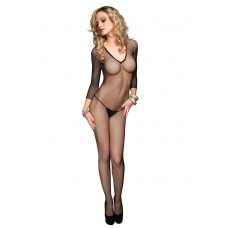 728378 SEAMLESS FISHNET V FRONT LONG SLEEVES BODYSTOCKING O/S BLK