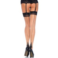 721024Q PLUS SIZE TWO TONED LYCRA SHEER THIGH HIGH WITH SEAM PLUS SI NUDE/