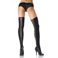 726289 OPAQUE THIGH HI W/ LACE UP BACK O/S BLK