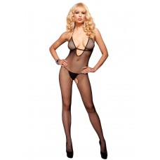 7289022 SEAMLESS FISHNET HALTER BODYSTOCKING W/ DEEP STRAP V NECK O/S BLK