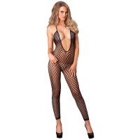 7289035 SEAMLESS CROCHET FOOTLESS LOW BACK BODYSTOCKINGS O/S BLK