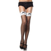 INDUSTRIAL NET THIGH HIGHS WITH CONTRAST LACE TOP AND  BOW O/S BLK/WHT