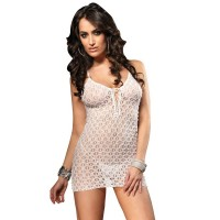Mini Dress With G-String - WHITE - O/S - LINGERIE