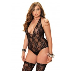 2Pc. Floral Lace Deep-V Lace Up Teddy And Matching Stockings