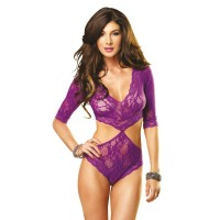 Floral Lace Deep-V Cut Out Teddy With Full Back Panty