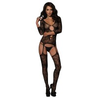 Floral Lace Suspender Bodystocking With Keyhole Cut-Out