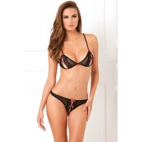 2PC Lace Peek-a-Boo Set Black M/L