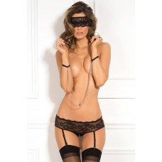 3PC CROTCHLESS PANTY & MASK SET, M/L
